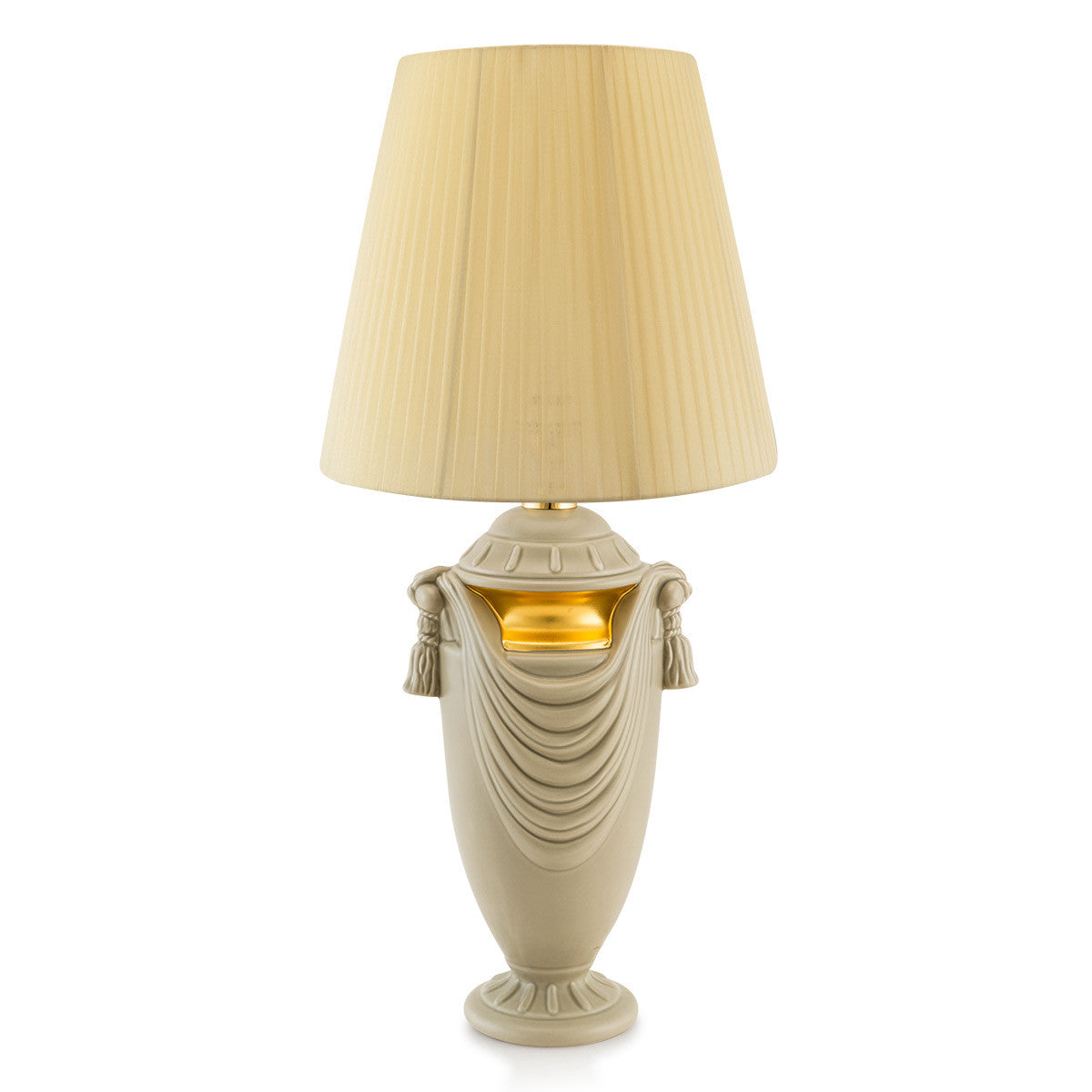 Grey ceramic table lamp with drape