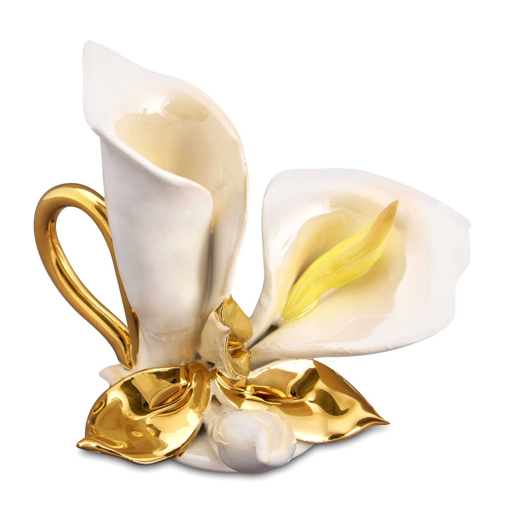 Ceramic candle holder with calla