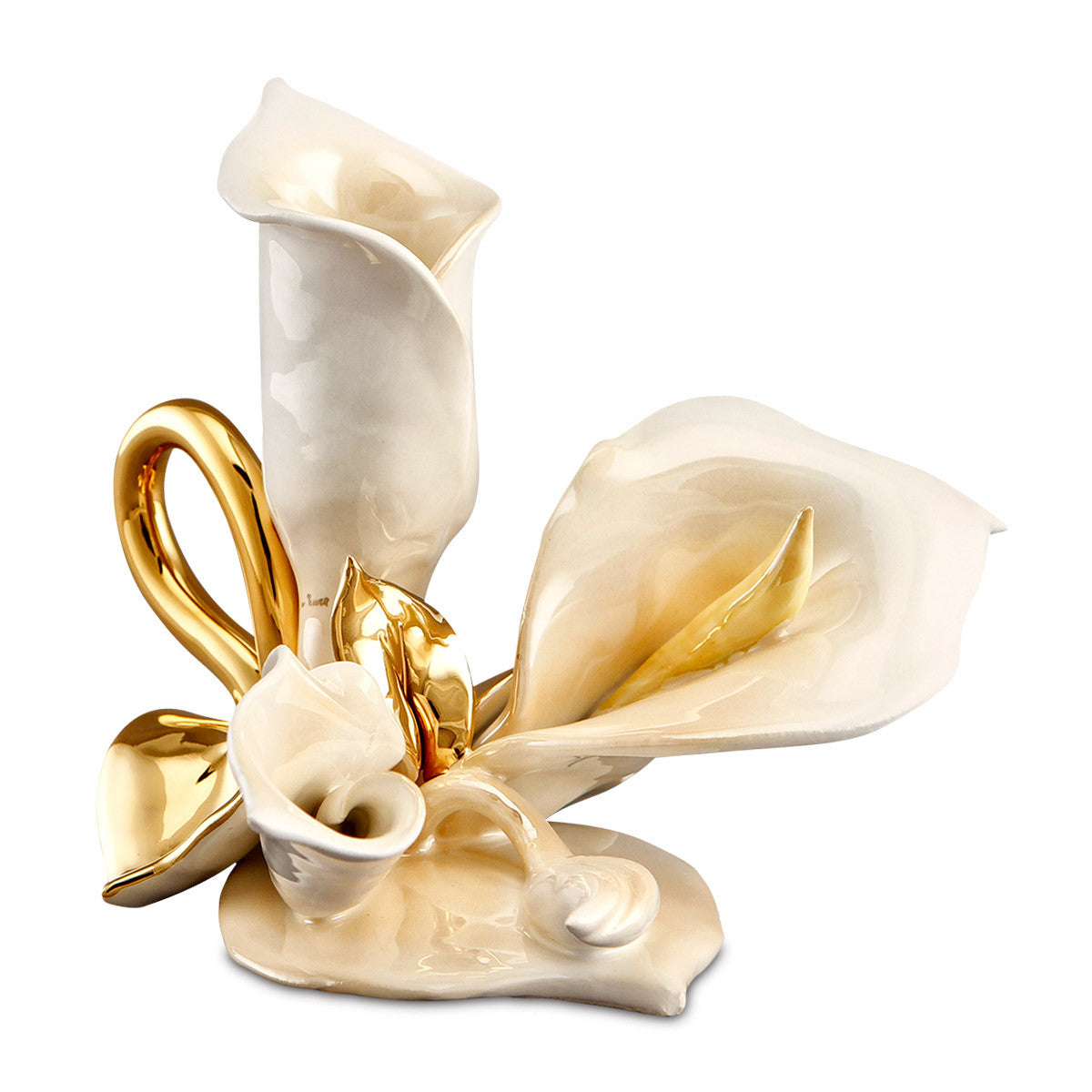 callas candle holder ceramic porcelain finish wit luster and gold