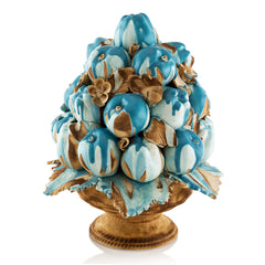 apples fruits basket ceramic porcelain in light blue color