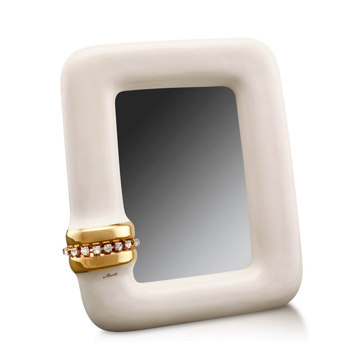 ceramic porcelain ivory photo frame finished in pure gold handmade in Italy
