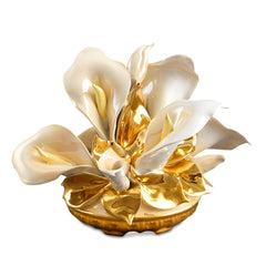 ceramic porcelain calla flowers bouquet finished in pure gold and salmon luster handmade in Italy