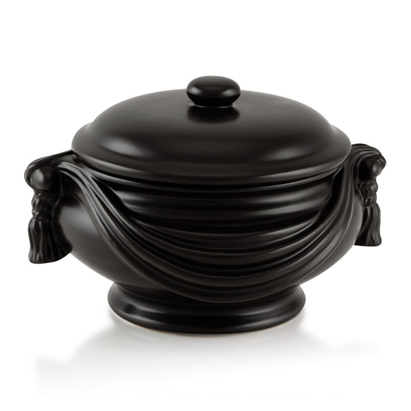 Black ceramic box with drape