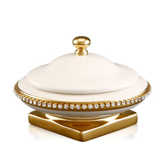 Ceramic box with crystal chain ivory glaze and pure gold