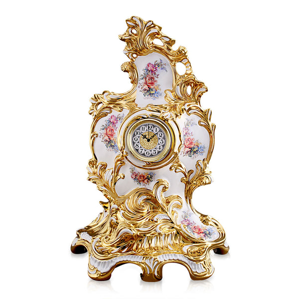 ceramic porcelain big baroque clock finished in pure gold with floral design handmade in Italy