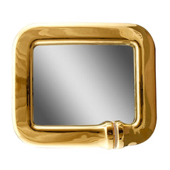Ceramic rectangular mirror with crystal chain in gold