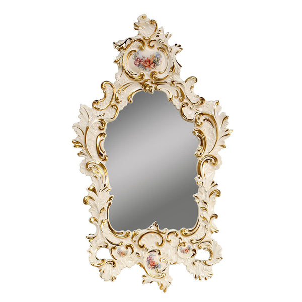 ceramic porcelain ivory baroque mirror finished in pure gold with floral design handmade in Italy