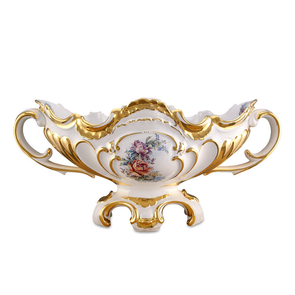 baroque centerpiece with handles in ceramic porcelain