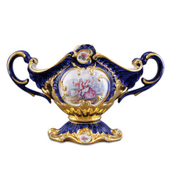 Italian ceramic porcelain baroque bowl with handle finished in pure gold and blue color with romantic design handmade in Italy