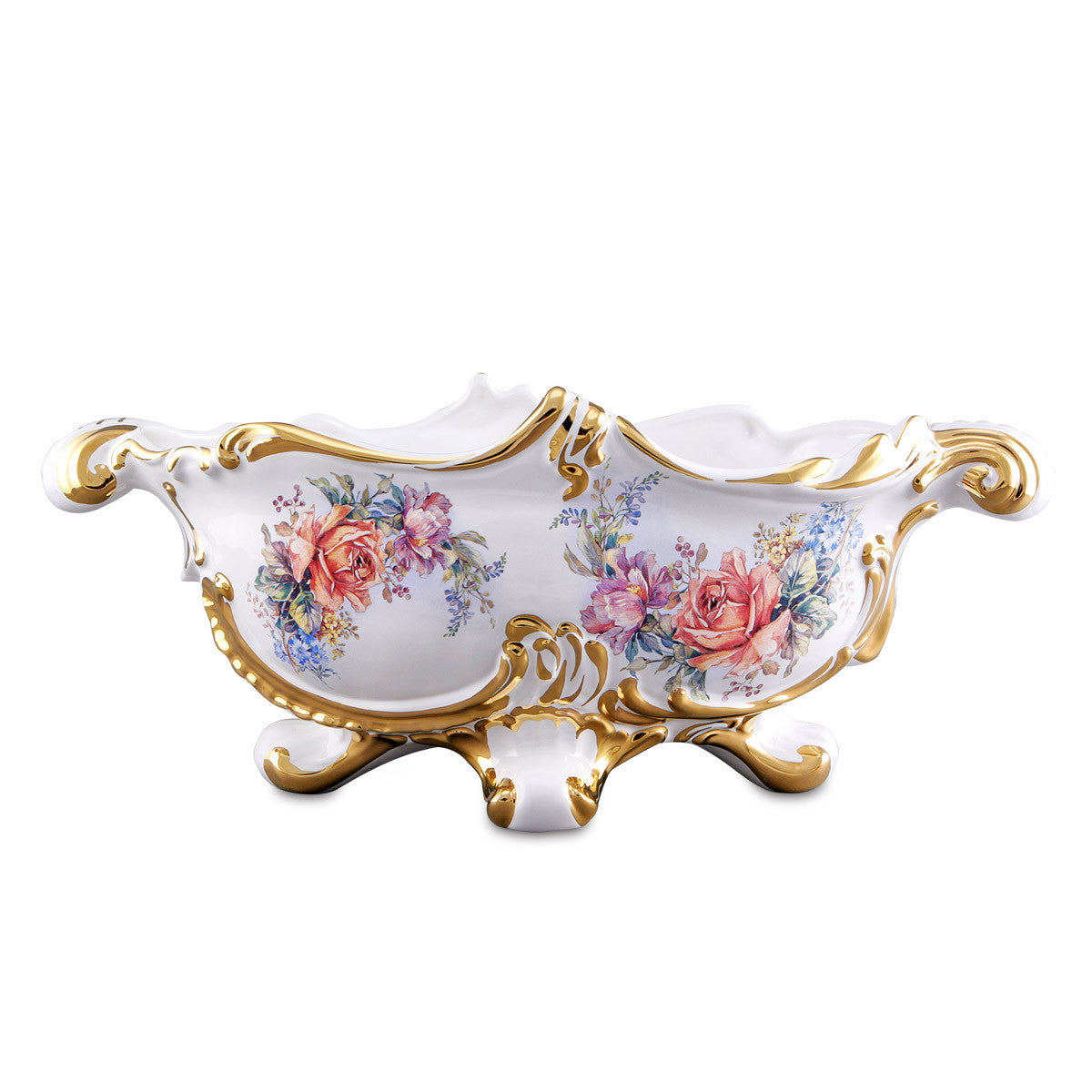Baroque bowl center table with floral design