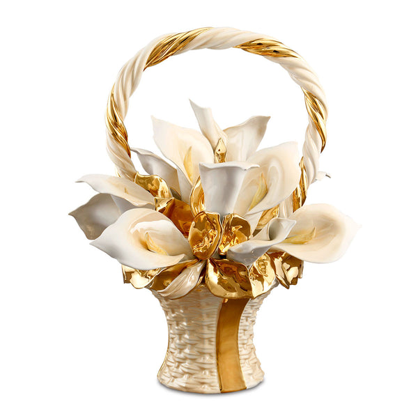 ceramic porcelain calla flower basket finished in pure gold and salmon luster handmade in Italy