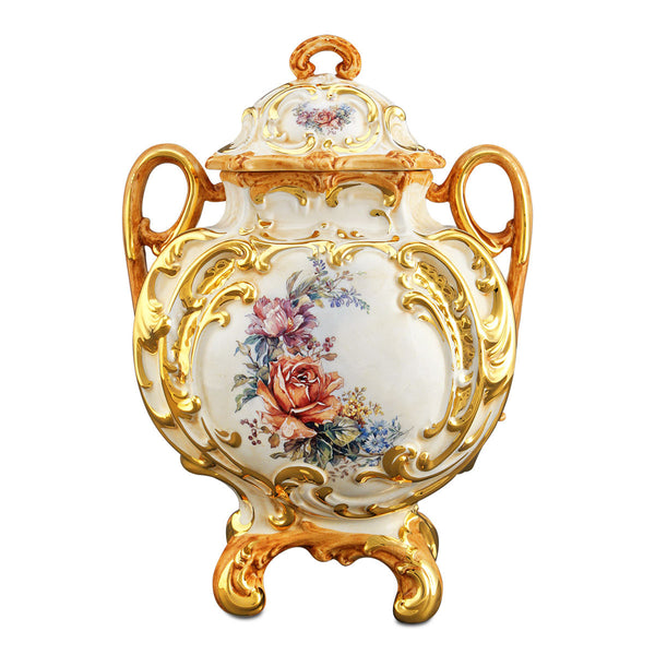 Ceramic baroque vase with lid and flower detail