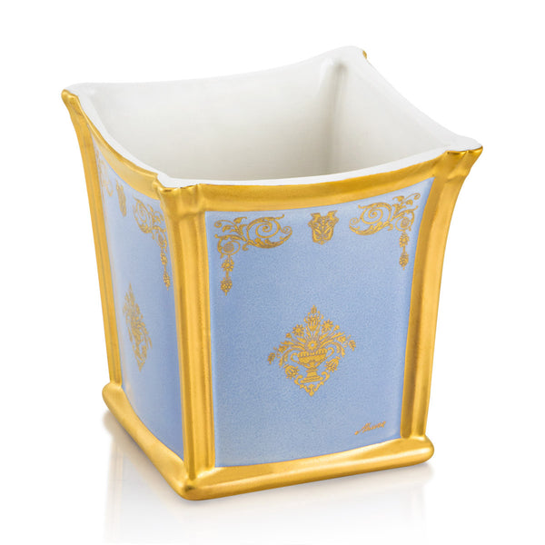 Ceramic square cachepot with gold ornaments