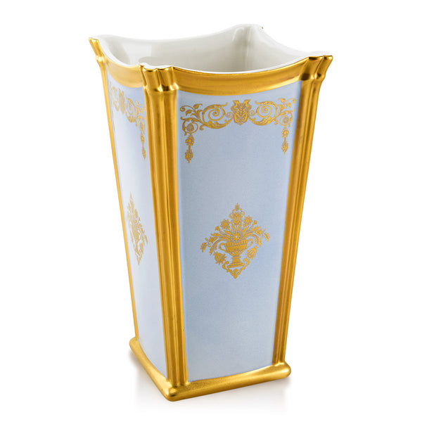 Ceramic square vase with gold ornaments