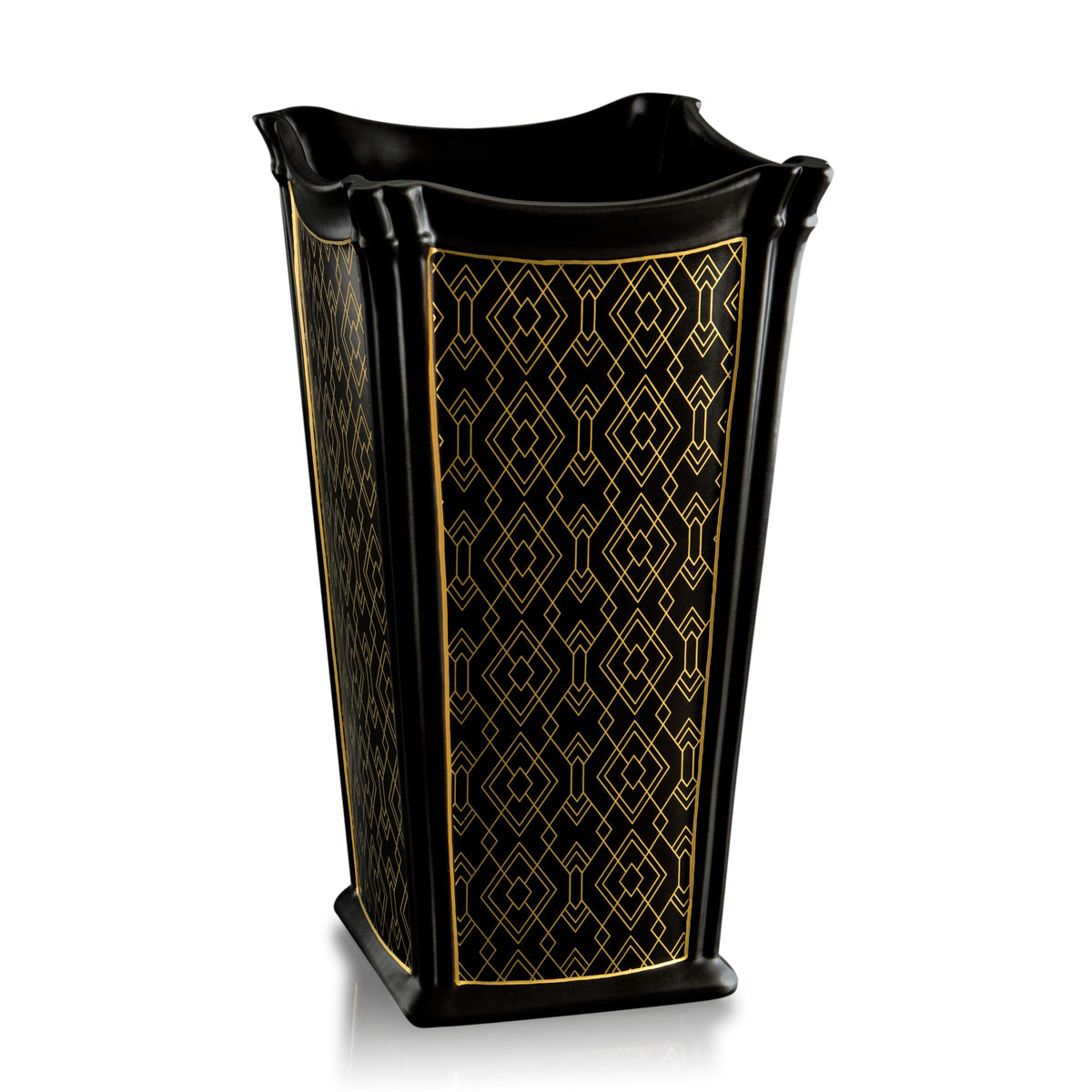 Ceramic square vase black and gold