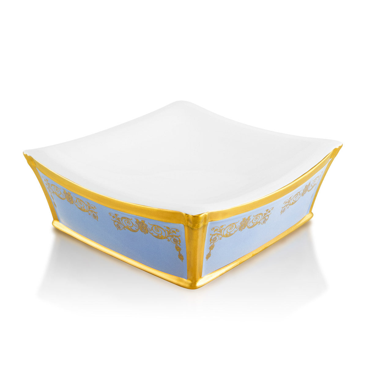 Ceramic decorative square bowl with gold ornaments