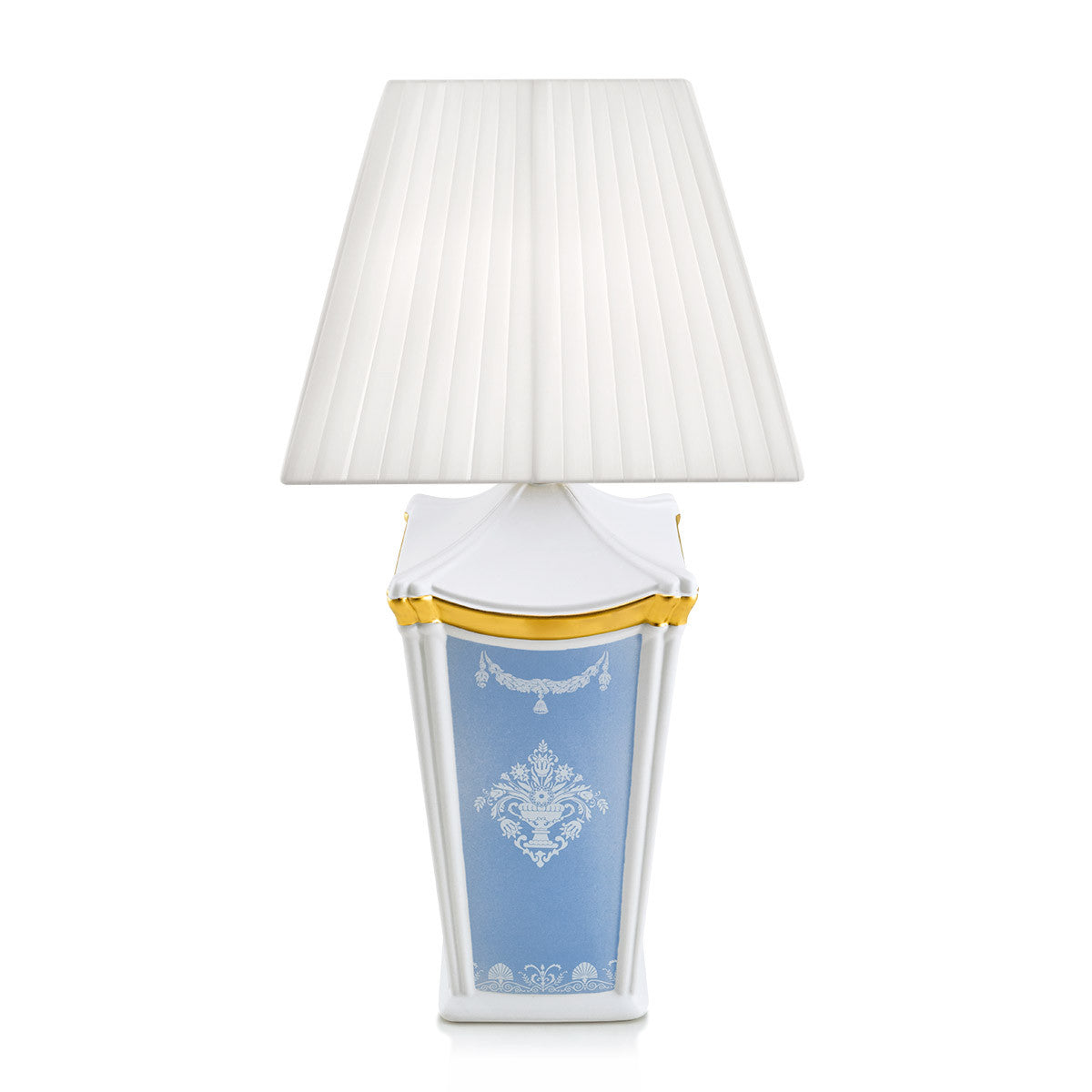 Ceramic square table lamp with white ornaments