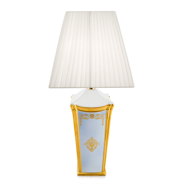 Ceramic square table lamp with gold ornaments