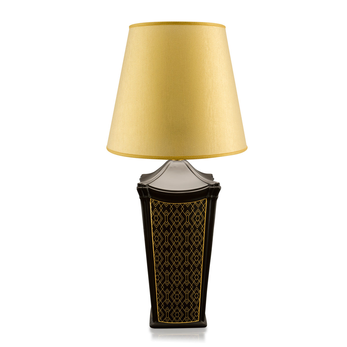 Ceramic square table lamp with gold pattern