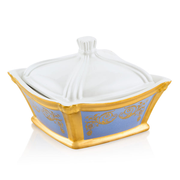 Ceramic square box with gold ornaments