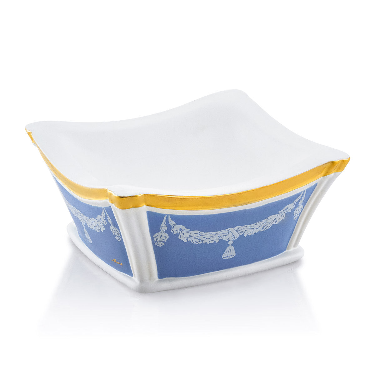 Ceramic square valet tray with white ornaments