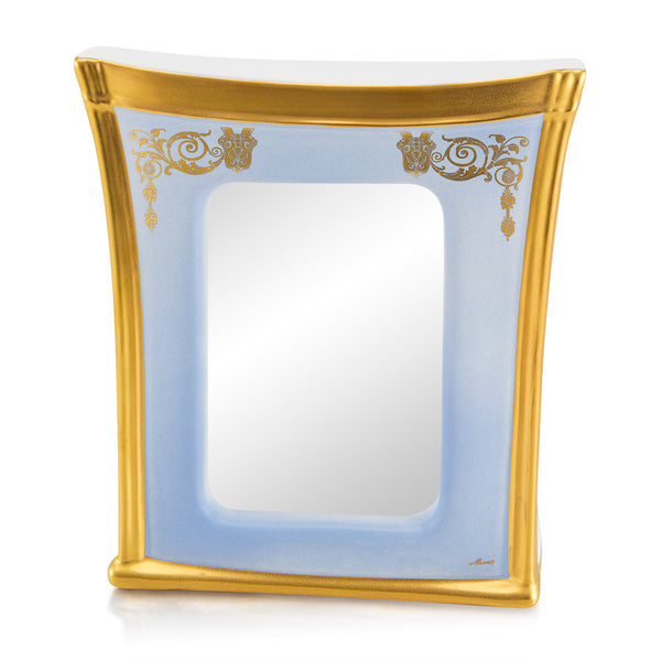 Ceramic square picture frame with gold accents