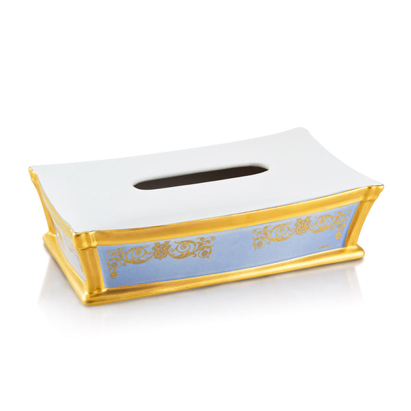 Ceramic square tissue box cover with gold accents