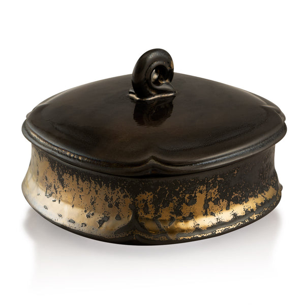 Ceramic box in burnished bronze finish | Quatrefoil