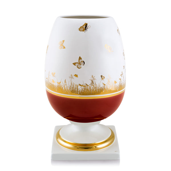 Ceramic egg vase with butterfly decorations