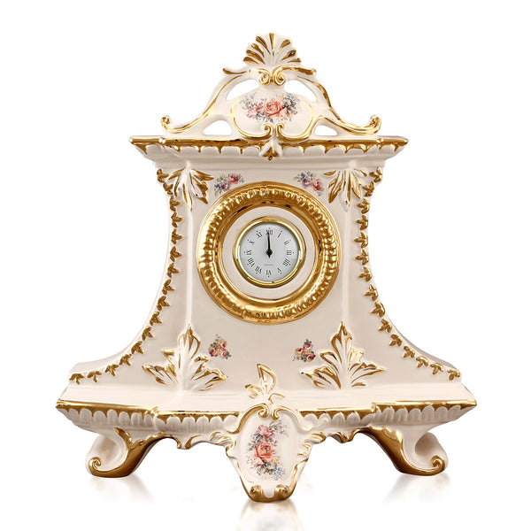 ceramic porcelain art nouveau baroque clock finished with floral design handmade in Italy