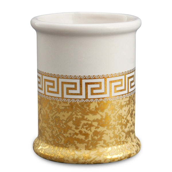 Ceramic toothbrush holder with pure gold