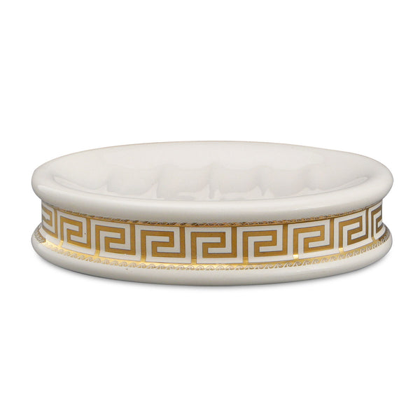 Ceramic soap dish with gold greek