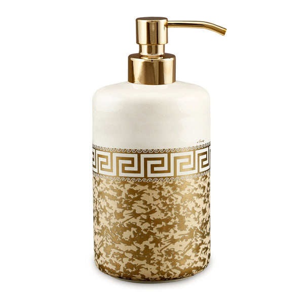 Hand-painted ceramic porcelain soap dispenser in ivory glaze and finished in pure gold, enriched with bright opaque gold texture