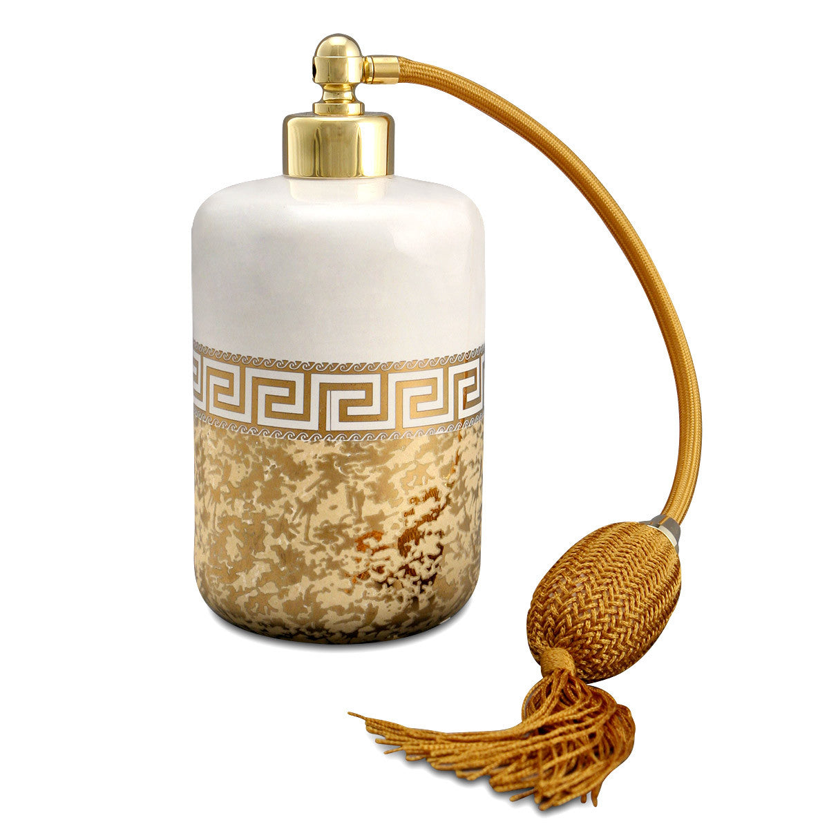 Hand-painted ceramic porcelain perfume dispenser in ivory glaze and finished in pure gold
