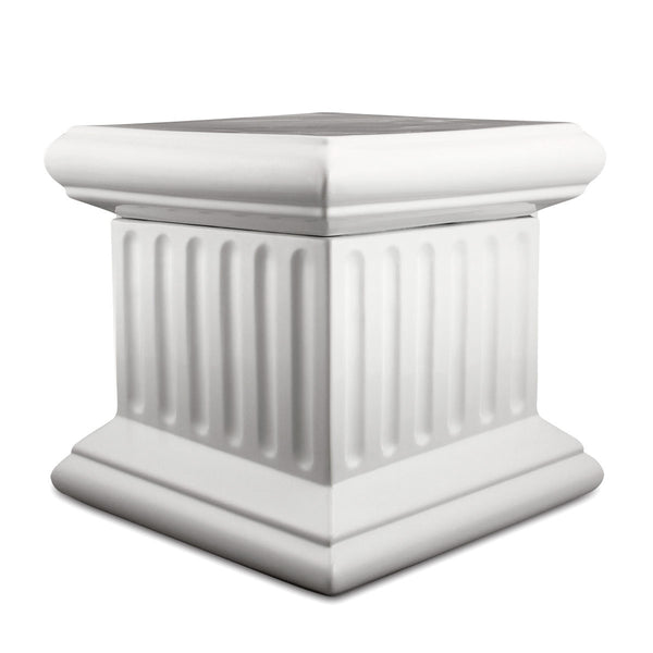 Ceramic ribbed column pedestal - white