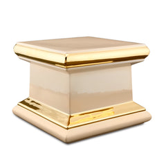 ceramic porcelain salmon square column finishing in pure gold handmade in Italy