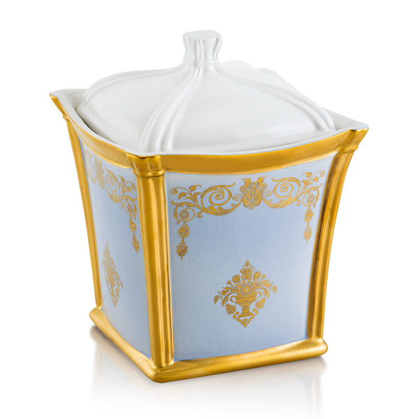 Ceramic container with gold ornaments