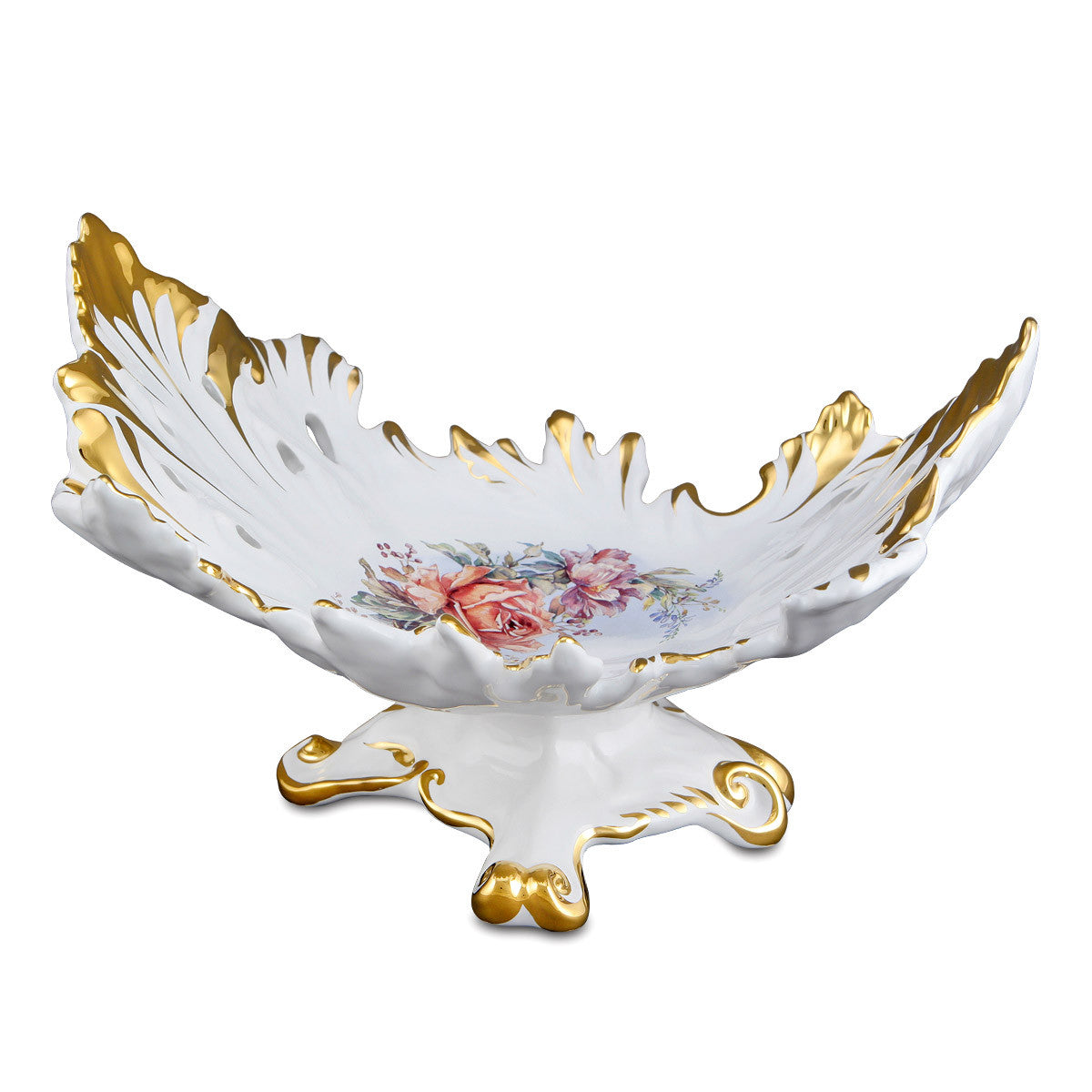 Ceramic baroque pedestal bowl with flower detail