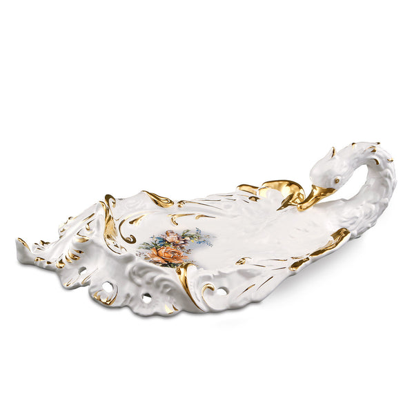 ceramic porcelain Baroque swan tray