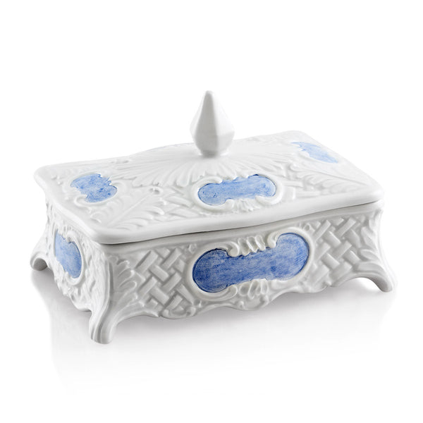 Ceramic rectangular box baroque style
