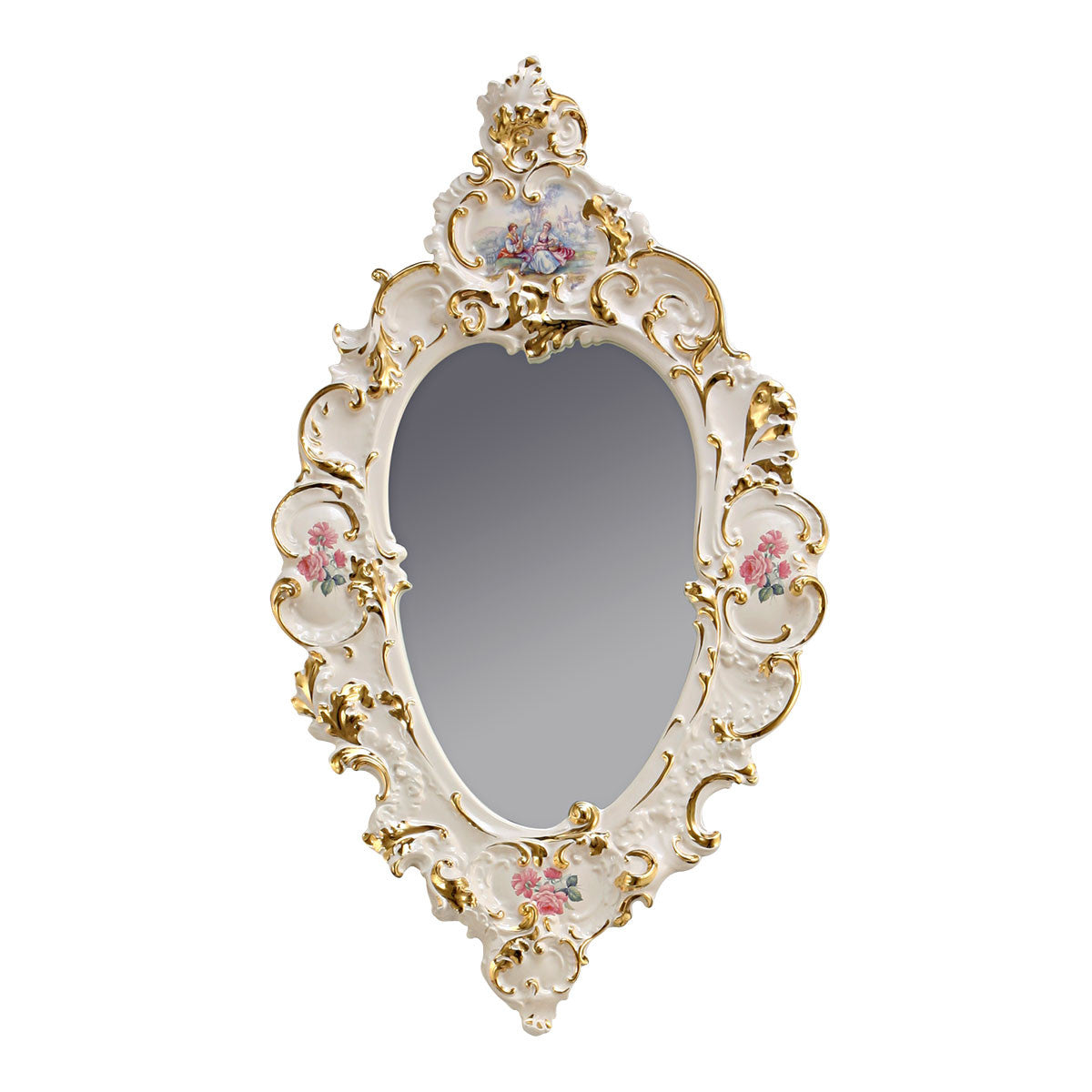 ceramic porcelain baroque mirror finished in pure gold baroque design handmade in Italy