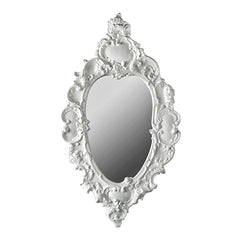 ceramic porcelain white baroque oval mirror handmade in Italy