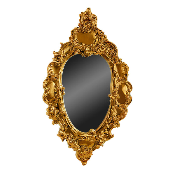 ceramic porcelain baroque mirror finished in pure bronze baroque design handmade in Italy