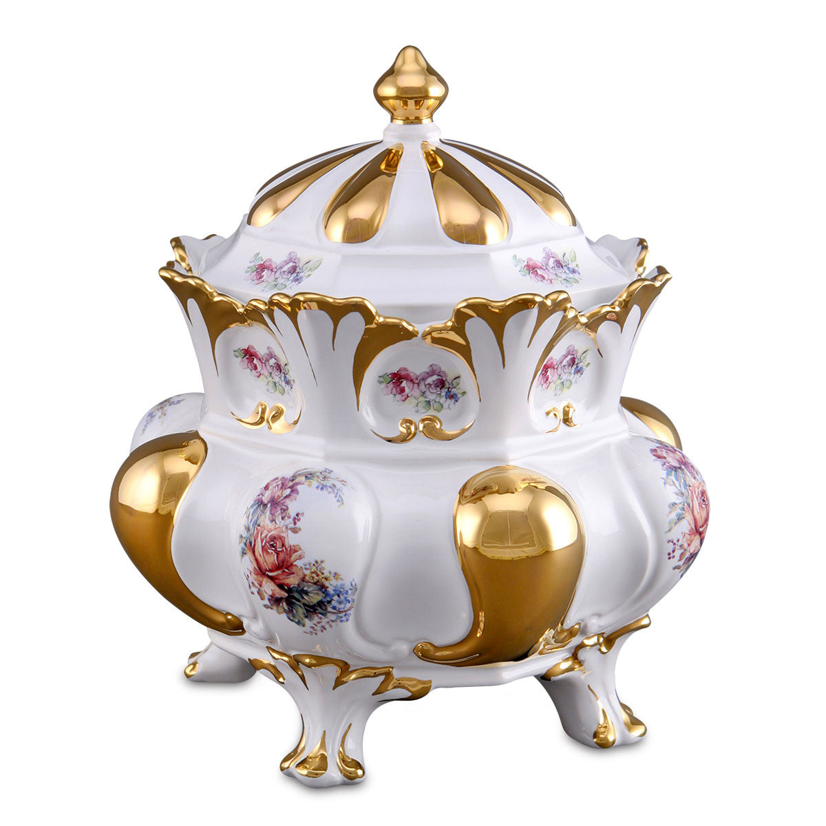 Ceramic crown box baroque style with gold accents