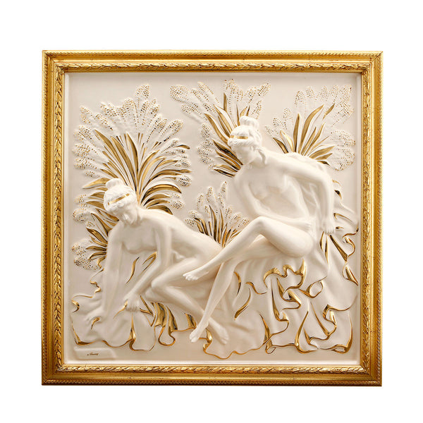 ceramic porcelain ladies panel with gold wood frame finished in pure gold