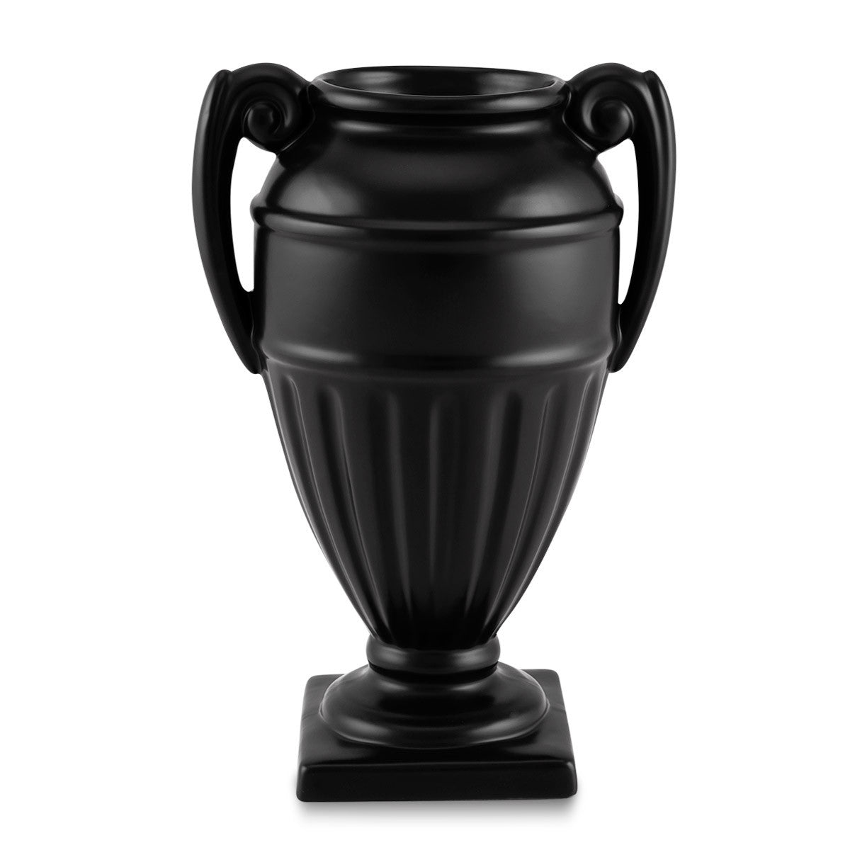 Hand-painted ceramic porcelain Arena vase finished in Black opaque.