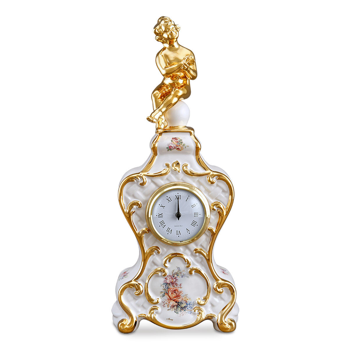 ceramic porcelain clock with angel baroque style collection