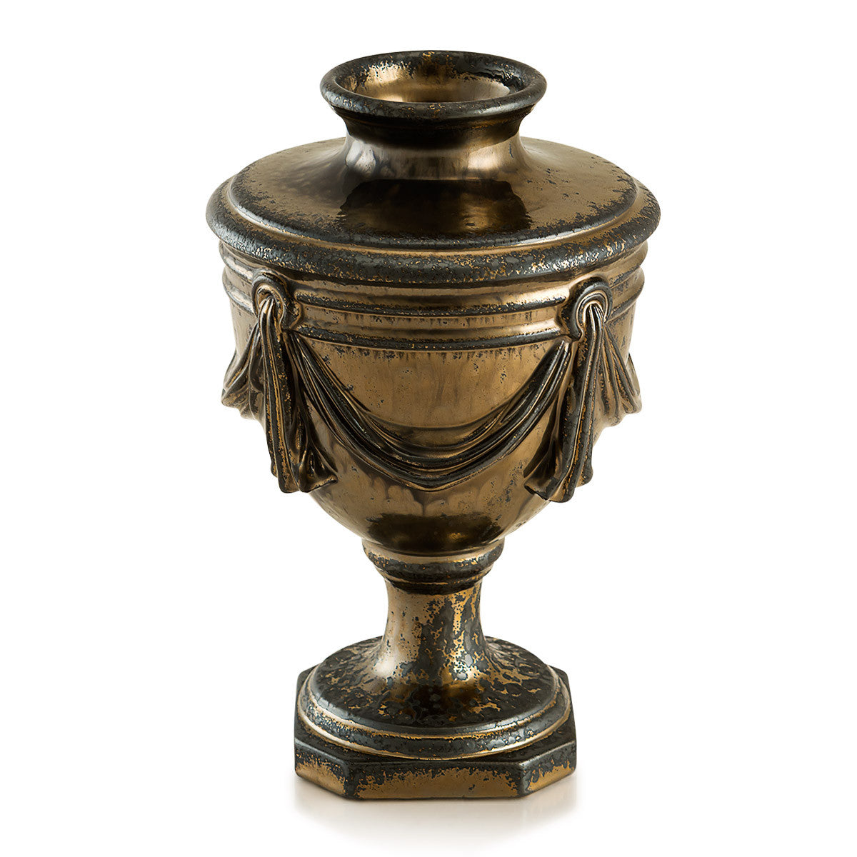 Ceramic vase four drapes in burnished bronze finish