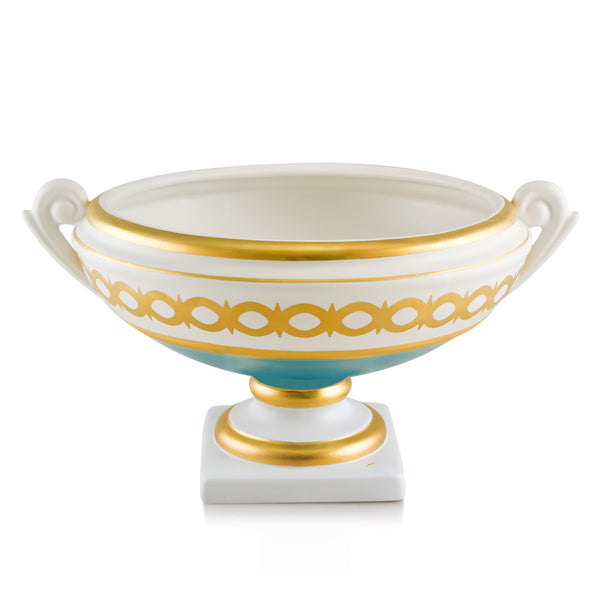 Hand-painted ceramic porcelain Arena centerpiece in white glaze and finished with turquoise color and pure gold, enriched with gold decoration.