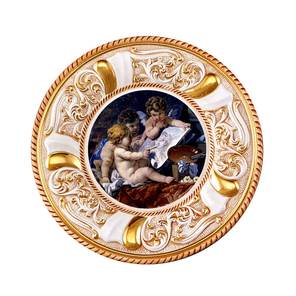 ceramic porcelain round plate with angels design finished in pure gold handmade in Italy